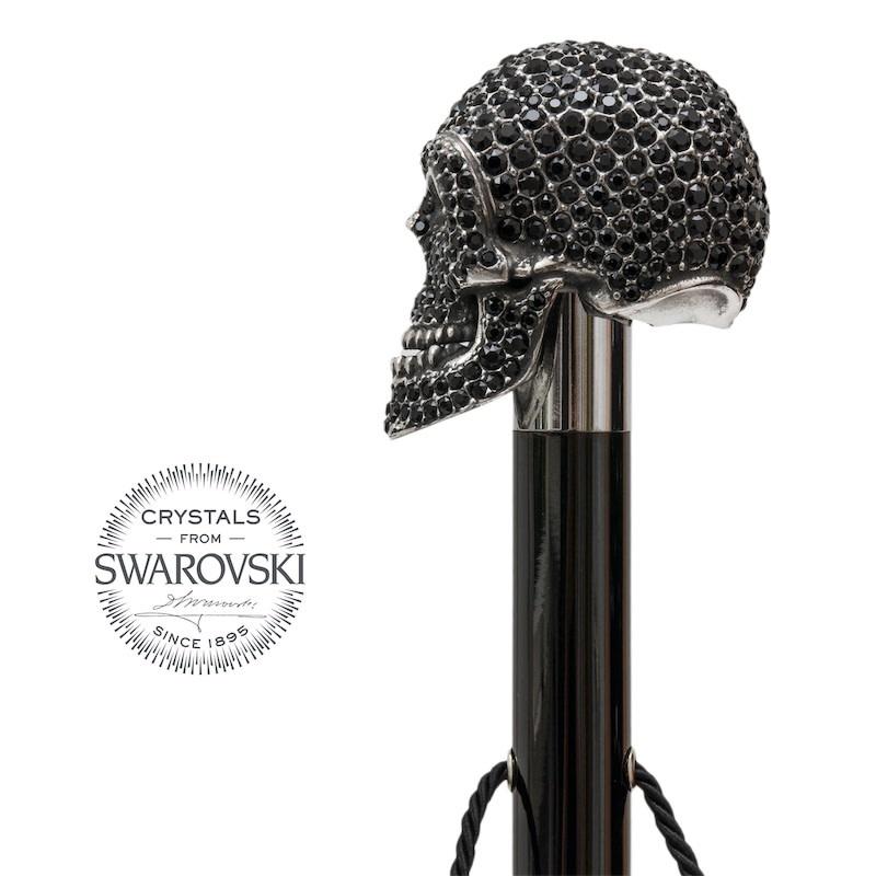 Shoehorn Skull Handle Black Crystals-3