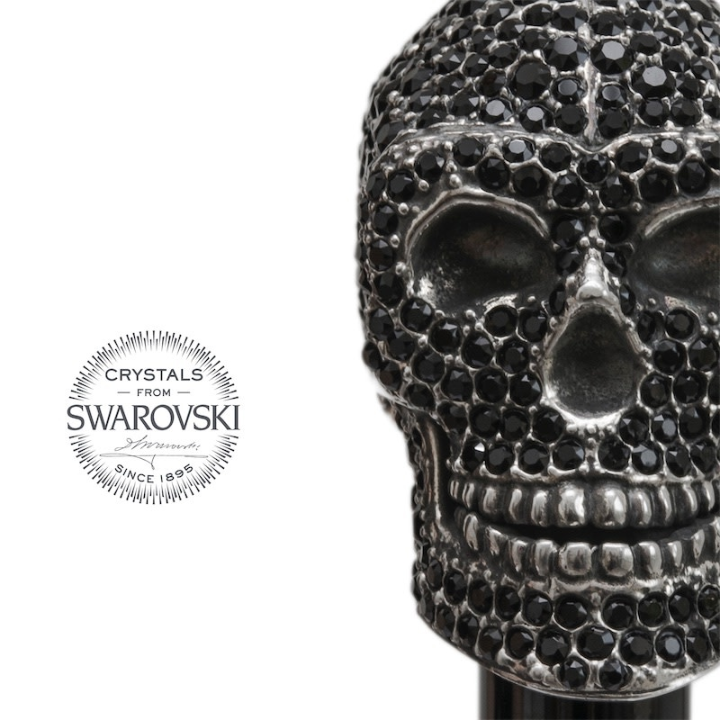 Shoehorn Skull Handle Black Crystals-4