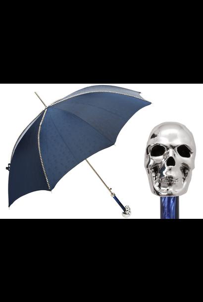 Umbrella Blue Satin with Skull Handle Silver