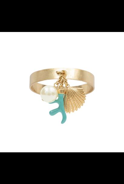 Napkin Ring Turquoise Coral Set 4pcs