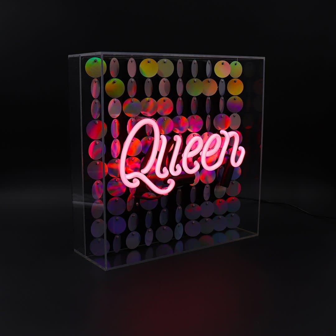 "Acrylic Box Neon Light  ""Queen"" Large-1"
