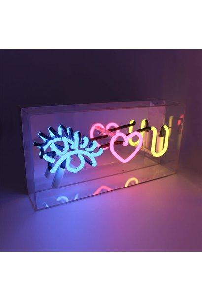 "Acrylic Box Neon Light  ""Eye Love U"""