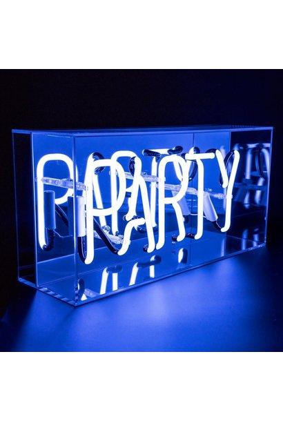 "Acrylic Box Neon Light  ""Party"" Blue"
