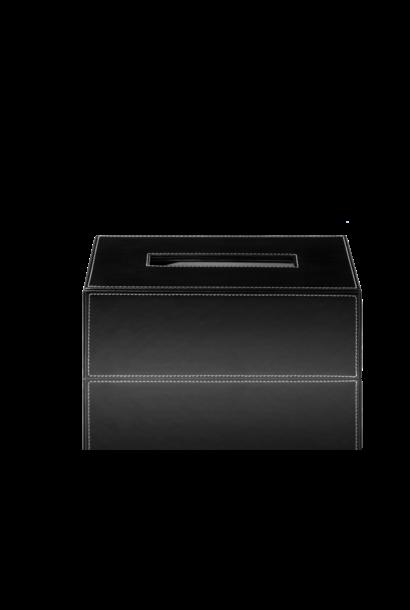 Tissue Box Black Leather