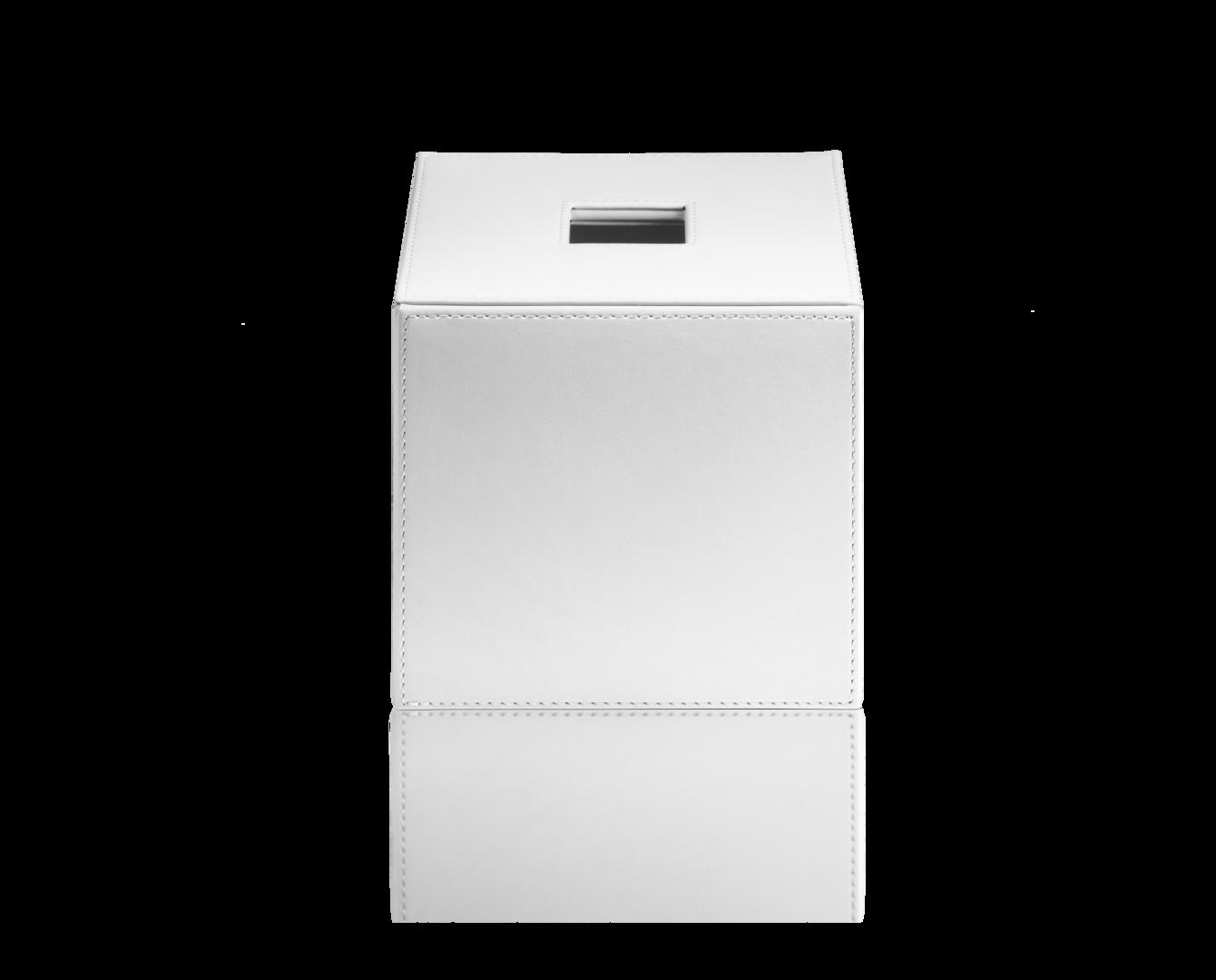 Tissue Box White Leather-1