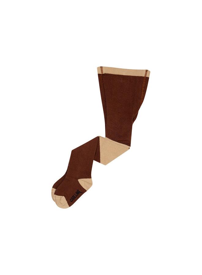Tights - diagonal brown/sand