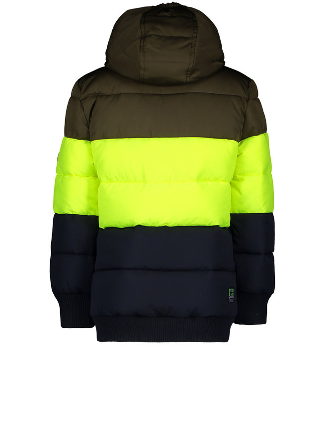 T&v jacket colorblock, striped ribs - Dark Army