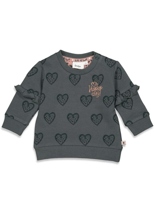Sweater AOP - Full Of Love - Antraciet