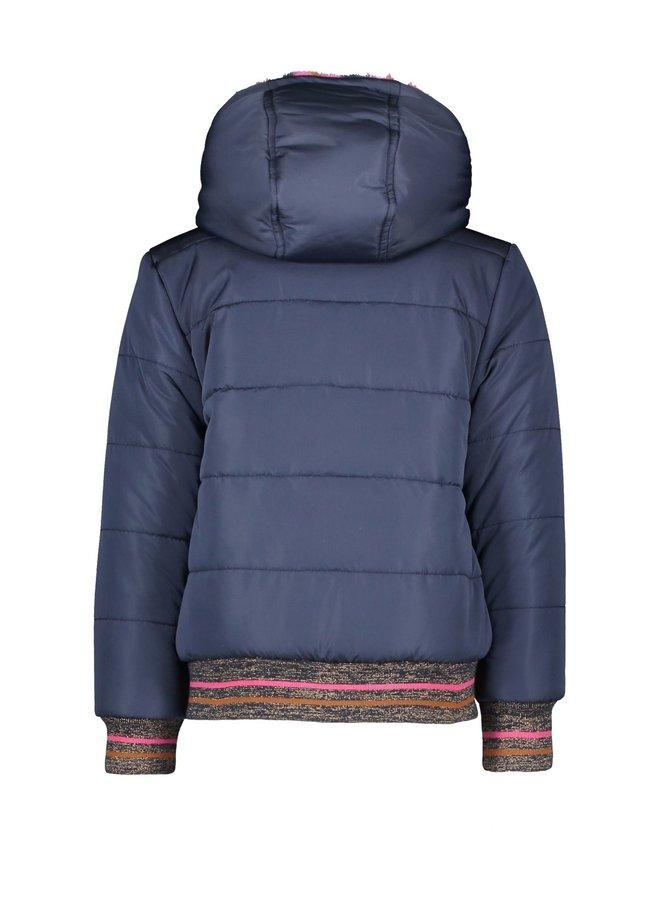 Girls short reversible jacket - space blue