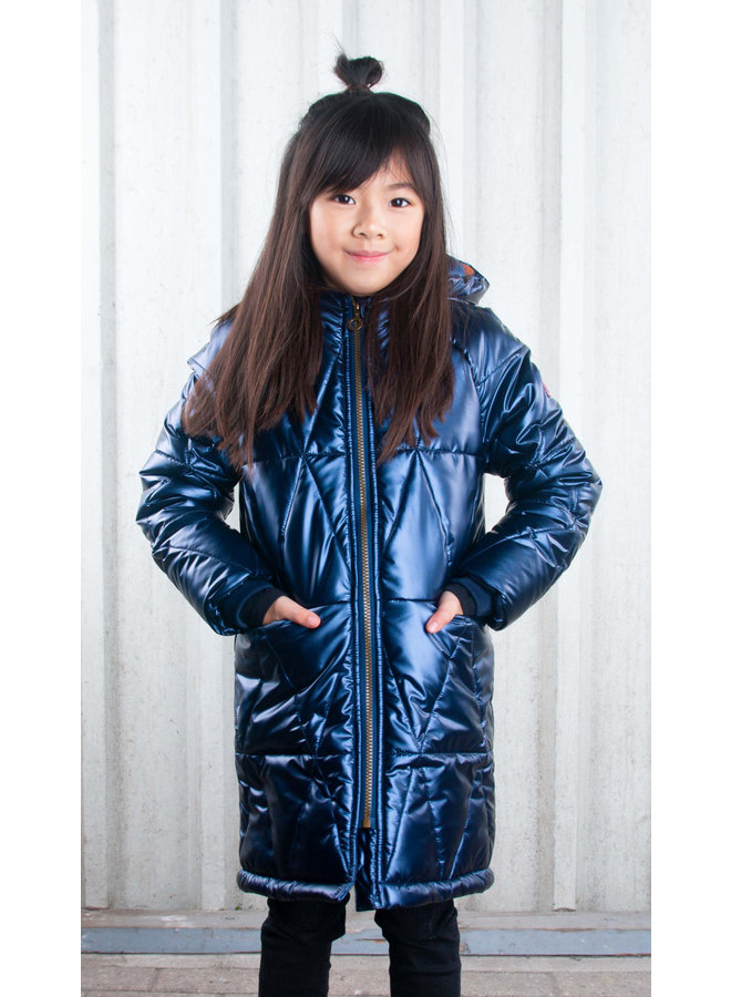 Girls long diamond quilted jacket with fleece lining - space blue