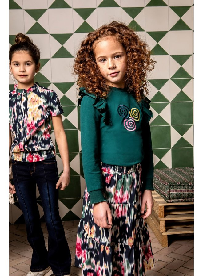 Girls top with ruffles and smocked sleeve-end + hem - Botanical green