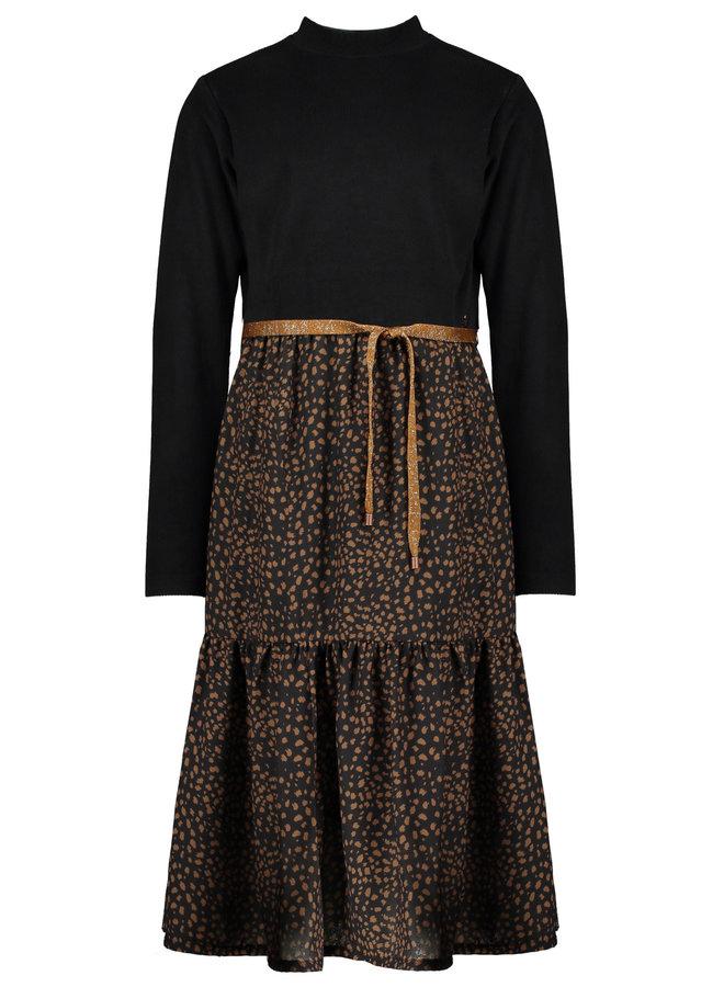 Mikado maxi dress with velours rib top+woven skirt - Jet Black