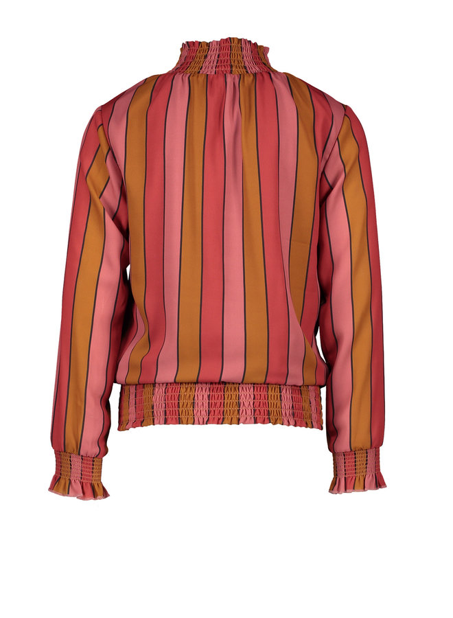 Tipi recyled PL blouse with smocking at neck+waistband - Ruby