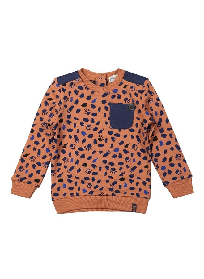 Boys Sweater ls - Camel + navy