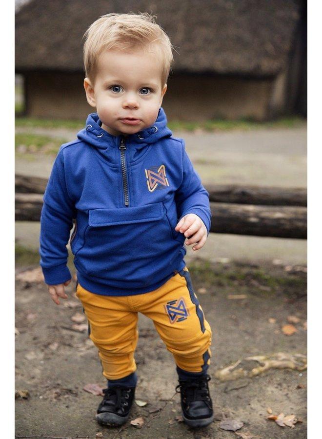 Boys Sweater ls with hood + zipper - Blue