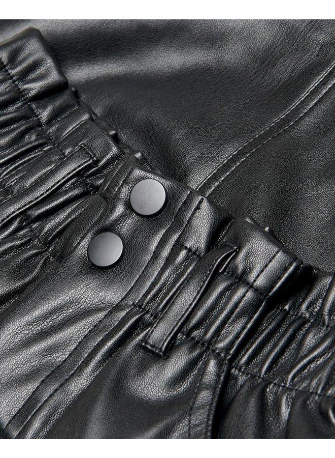 KONMAIYA-MIRI FAUX LEATHER SKIRT CP - Black