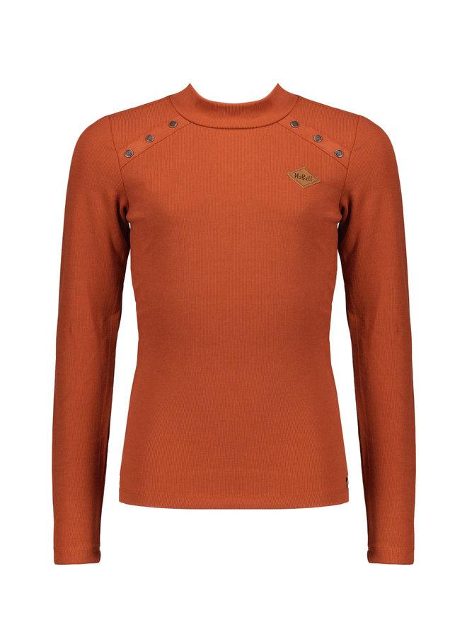 Kara l/sl rib tshirt with metal buttons+turtle neck - Piment