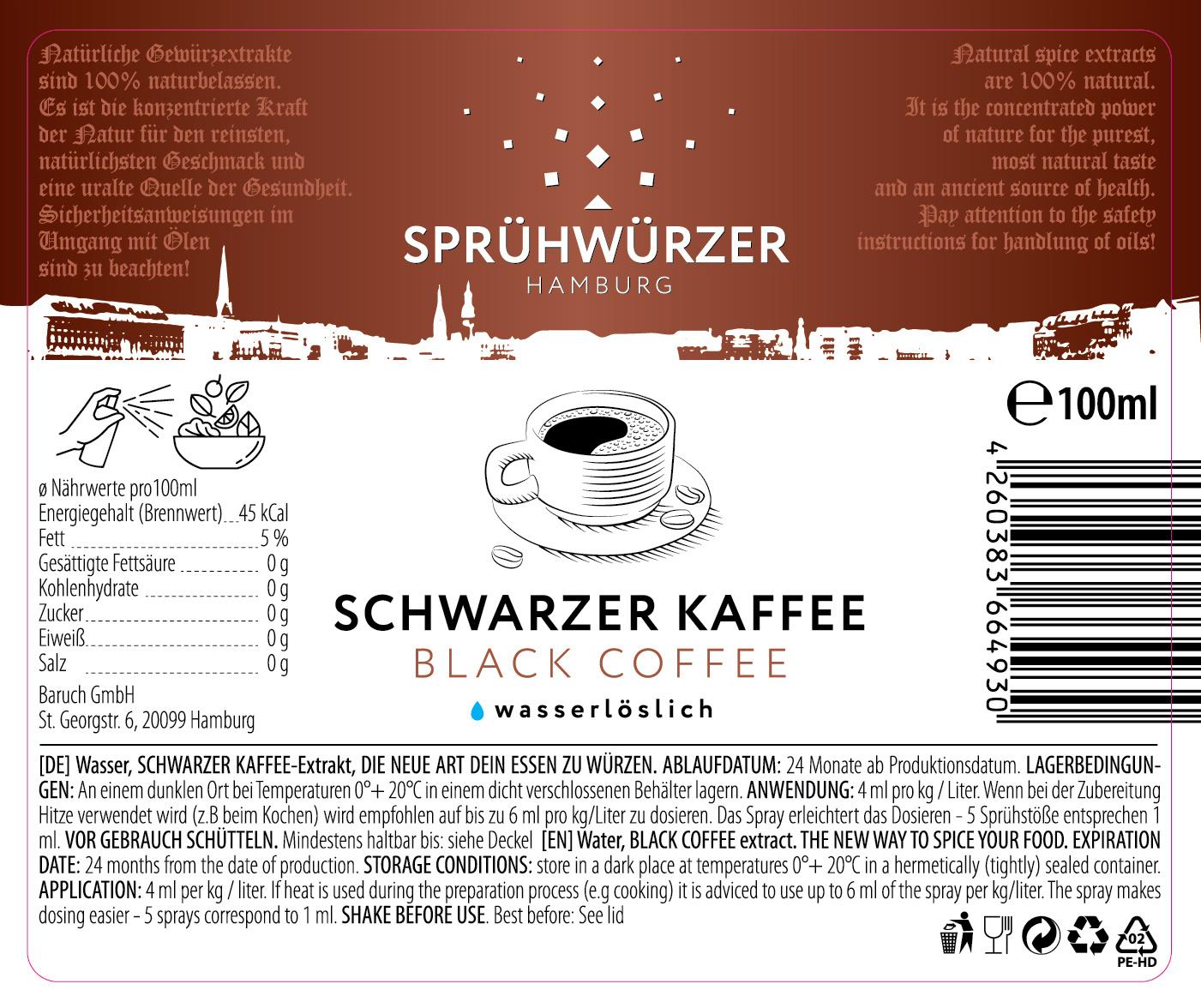 Schwarzer Kaffee-Extrakt  100ml