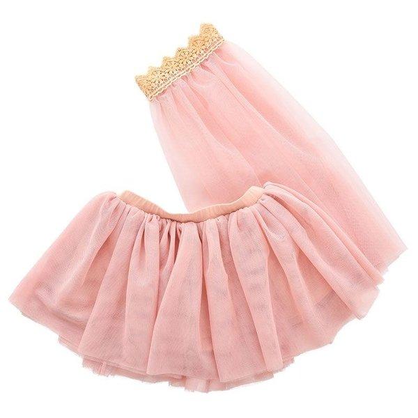 ByASTRUP Tule rok met sluier voor de pop licht roze 45cm