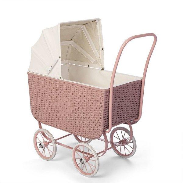 ByASTRUP Poppenwagen Retro Rotan roze