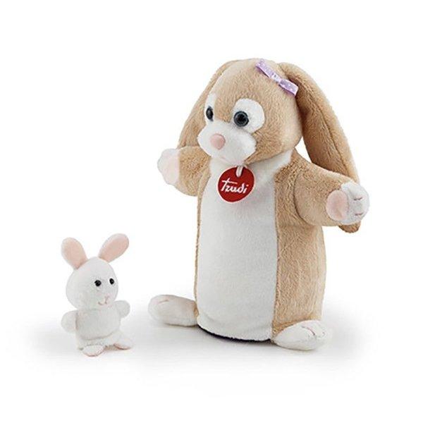 Trudi Handpop konijn met baby 24cm