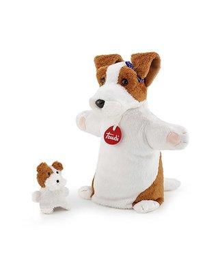 Trudi Handpop hond met baby 27cm