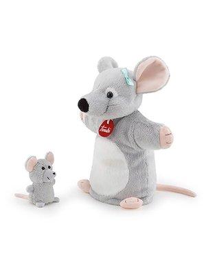 Trudi Handpop muis met baby 26cm