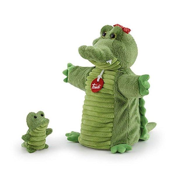 Trudi Handpop krokodil met baby 26cm