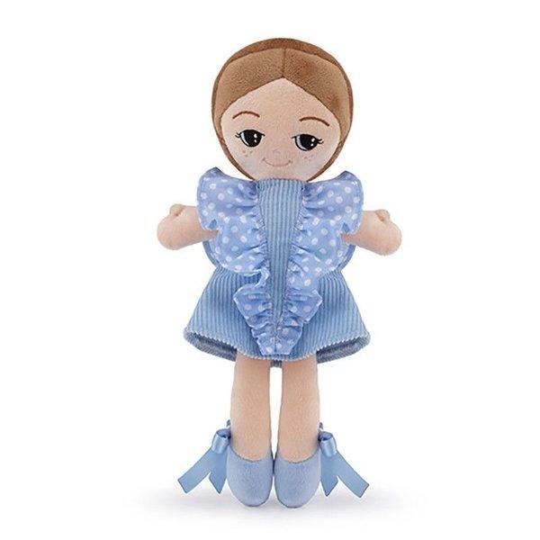 Trudi Stoffenpop licht blauwe jurk 24cm