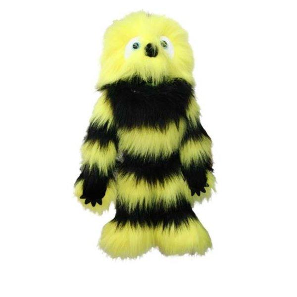 The Puppet Company Handpop monster geel/zwart 50cm