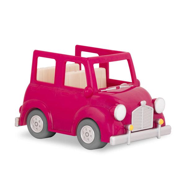 Li'l Woodzeez Roze Familieauto met Koffer