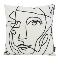 Abstract Face White - Outdoor | 45 x 45 cm | Kussenhoes | Katoen