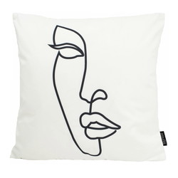 Line Art Face #2 | 45 x 45 cm | Kussenhoes | Katoen