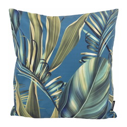 Blue Strelitzia Palm | 45 x 45 cm | Kussenhoes | Katoen