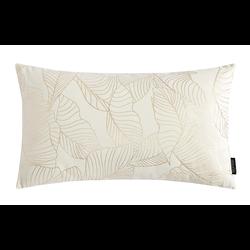 Velvet Leaves Long Creme / Wit | 30 x 50 cm | Kussenhoes | Polyester