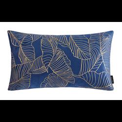 Velvet Leaves Long Blauw | 30 x 50 cm | Kussenhoes | Polyester