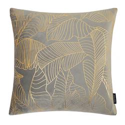Velvet Leaves Grijs | 45 x 45 cm | Kussenhoes | Polyester