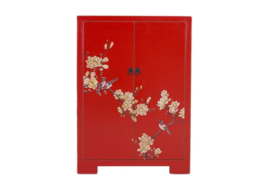 Chinese Cabinet Red Handpainted Blossoms W80xD35xH99cm