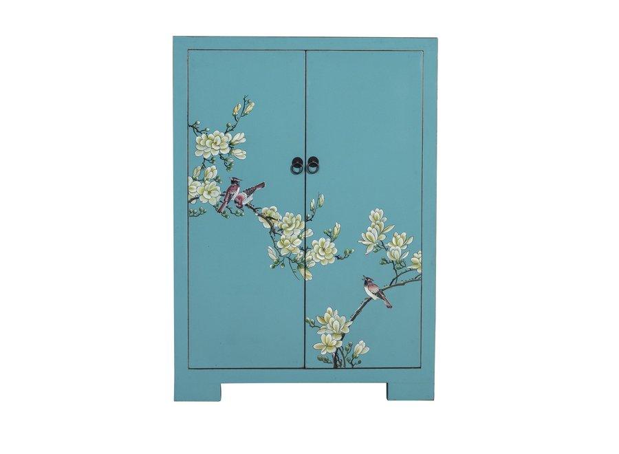 Chinesischer Schrank Blau Handbemalte Blüten B80xT35xH99cm