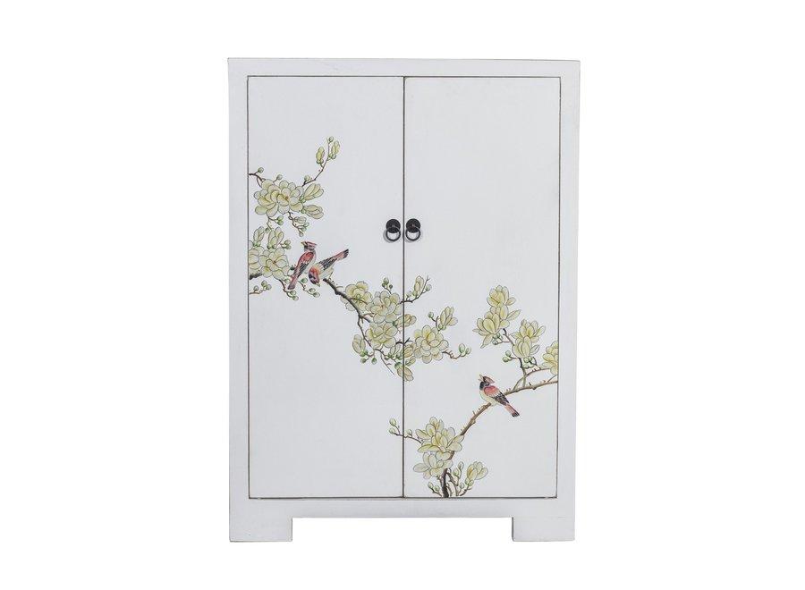 Chinesischer Schrank Weiß Handbemalte Blüten B80xT35xH99cm