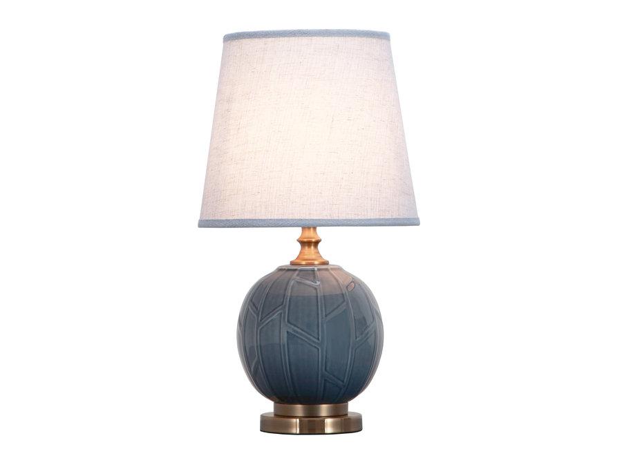 Fine Asianliving Chinesische Tischlampe Porzellan Relief Abstrakte Bambus Grau D28xH51cm