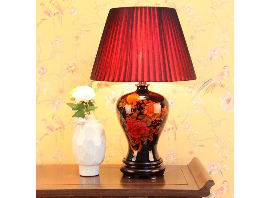 Fine Asianliving Chinesische Tischlampe Porzellan Schwarz Pfingstrose D43xH66cm