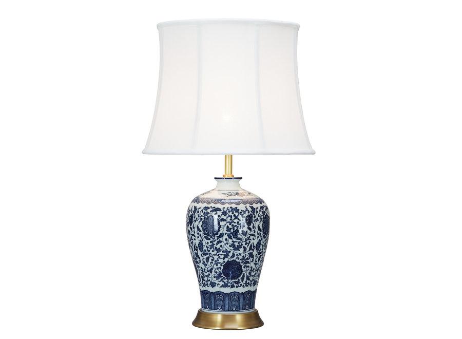 Fine Asianliving Chinesische Tischlampe Klassisch Porzellan Lotus Blau D38xH65cm