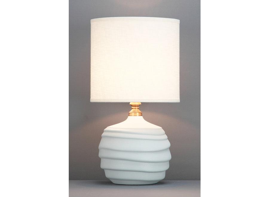 Fine Asianliving Chinesische Tischlampe Relief Matt Weiss D30xH56cm