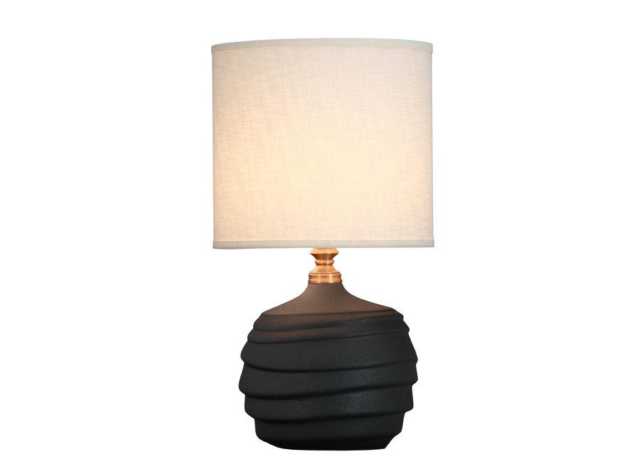 Chinesische Tischlampe Relief Matt Schwarz D30xH56cm