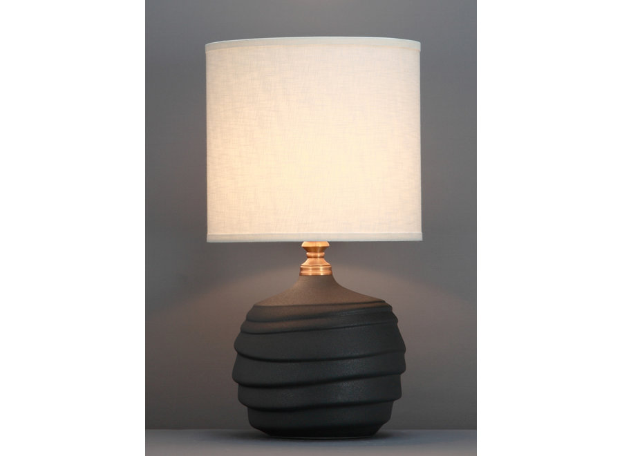 Fine Asianliving Chinesische Tischlampe Relief Matt Schwarz D30xH56cm