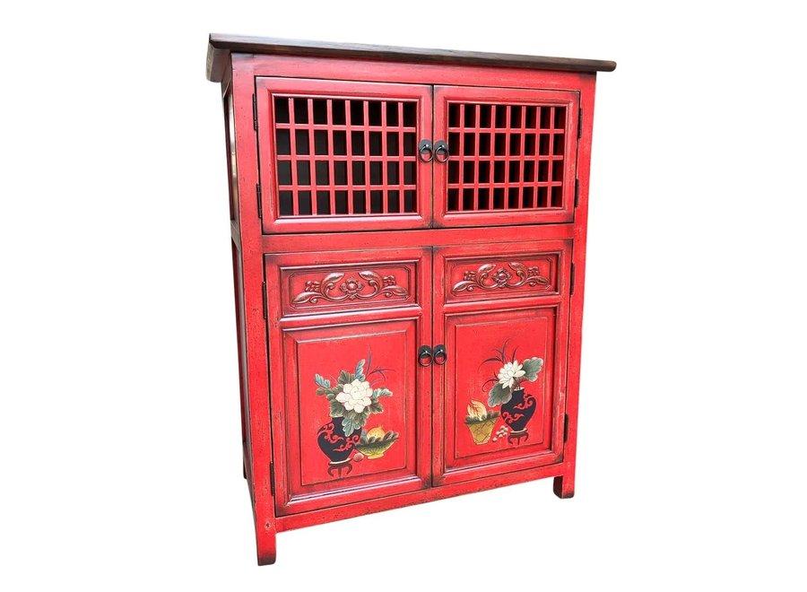 Chinesischer Schrank Handbemalte Details Rot B85xT45xH106cm