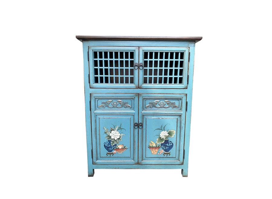 Chinesischer Schrank Handbemalte Details Blau B85xT45xH106cm