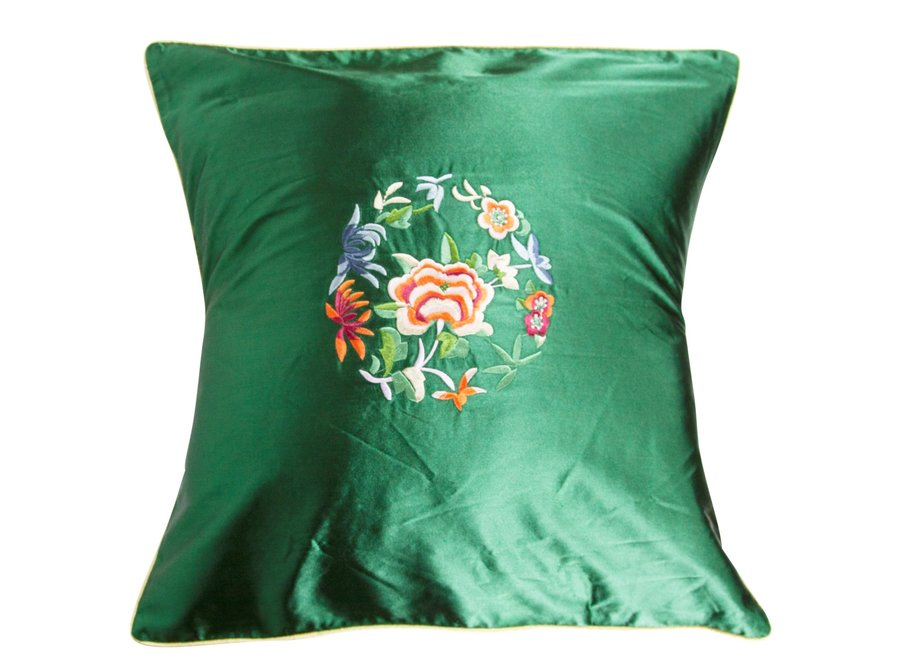 Kissenbezug Grün Blumen 40x40cm