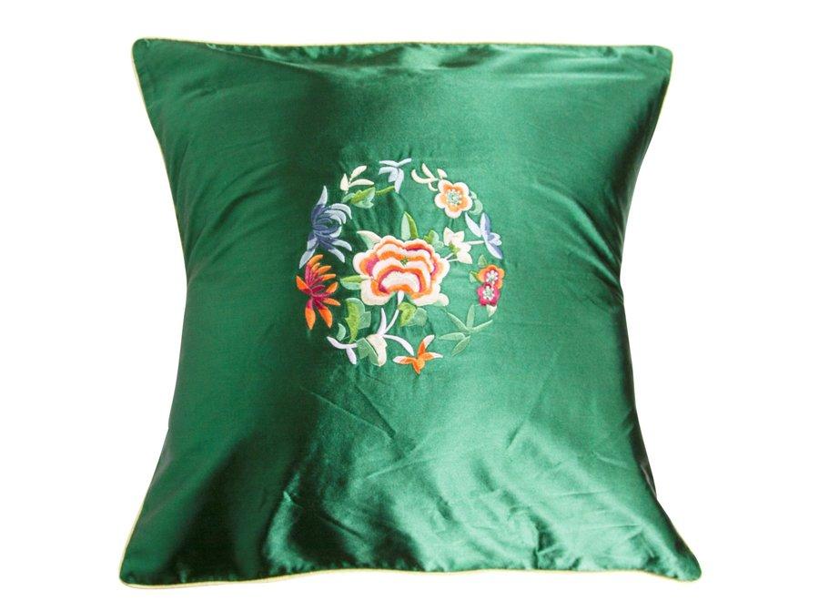 Fine Asianliving Chinesisches Kissen Grün Blumen 40x40cm